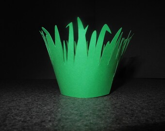 Green Grass Cupcake Wrappers- Set of 12