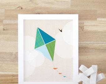 Kite Art Print Art and Decor Kids Room Boys Green Aqua Modern Baby Nursery Decor. Flying Kite Print - Kids Wall Art