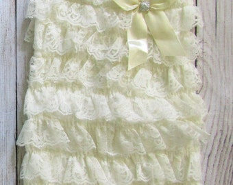 Sale!!! Cream Off White Lace Rompers Sizes XS (about 0-3 months), M (about 12-24 months), or L (fits about 2T-3T)