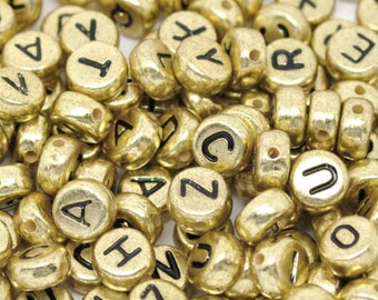 250 Pcs Mixed Gold Flat Round Alphabet /Letter Beads