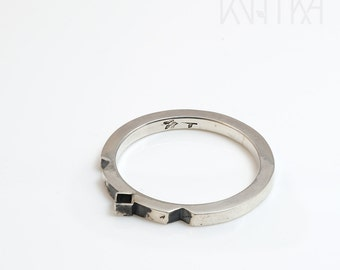 Minimalist ring, Geometric ring, Sterling silver delicate ring, Minimalistic band ring