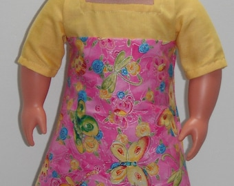 "Yellow Yoke Butterflies Dragonflies Flowers Square neck & three quarter Sleeve Knee Length Dress 18"" Doll Clothes"