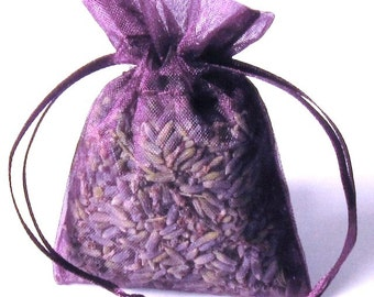 LAVENDER sachets  6 Pack ORGANIC Lavendar in 3x4 PLUM color organza bags aromatherapy