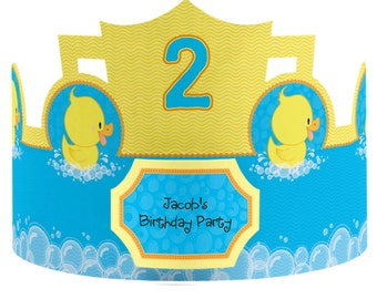 8 Custom Ducky Duck Party Hats - Birthday Party Hats - Party Supplies - 8 Count