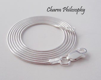 925 Sterling Silver Snake Chain - 1.1 mm - 16, 18, 20, 22, 24 inches - Finished Chain with Lobster Clasp