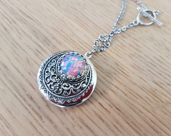 Opal Moon - round silver filigree locket necklace with vintage glass opal - bridal wedding jewelry bridesmaid gift Victorian style crescent