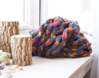 Colorful Hand-Knitted Wool Scarf