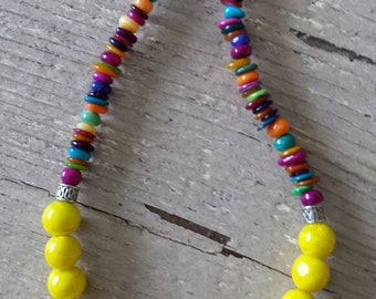 Yellow Lampwork Bead Necklace with Purple Orange Yellow Green Pink Brown Blue Shell Beads