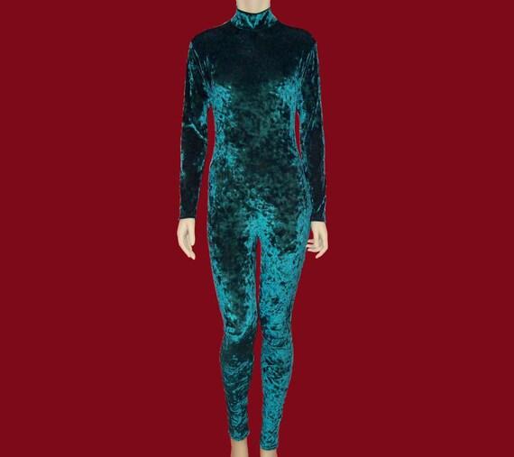 Gold Crushed Stretch Velvet Unitard Catsuit Bodysuit Jumpsuit - Medium Unisex Costume Dance Shiny 8SWusg