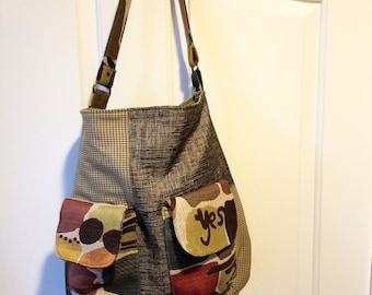 Shoulder bag, tote, purse, large, Gabrielle Bag. Large front flapped pockets