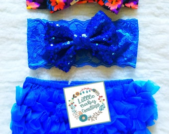 Free delivery,Royal blue bloomer,Floral headband,Cotton bloomer,Ruffle bloomer,Babies bloomer,Blue bloomer,Girl bloomer,Toddler bloomer