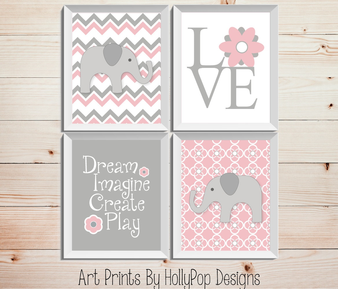 Nursery Art For Children Kids Wall Art Baby Girl Nursery Baby: Pink Gray Nursery Decor Baby Girl Nursery Wall Decor Elephant