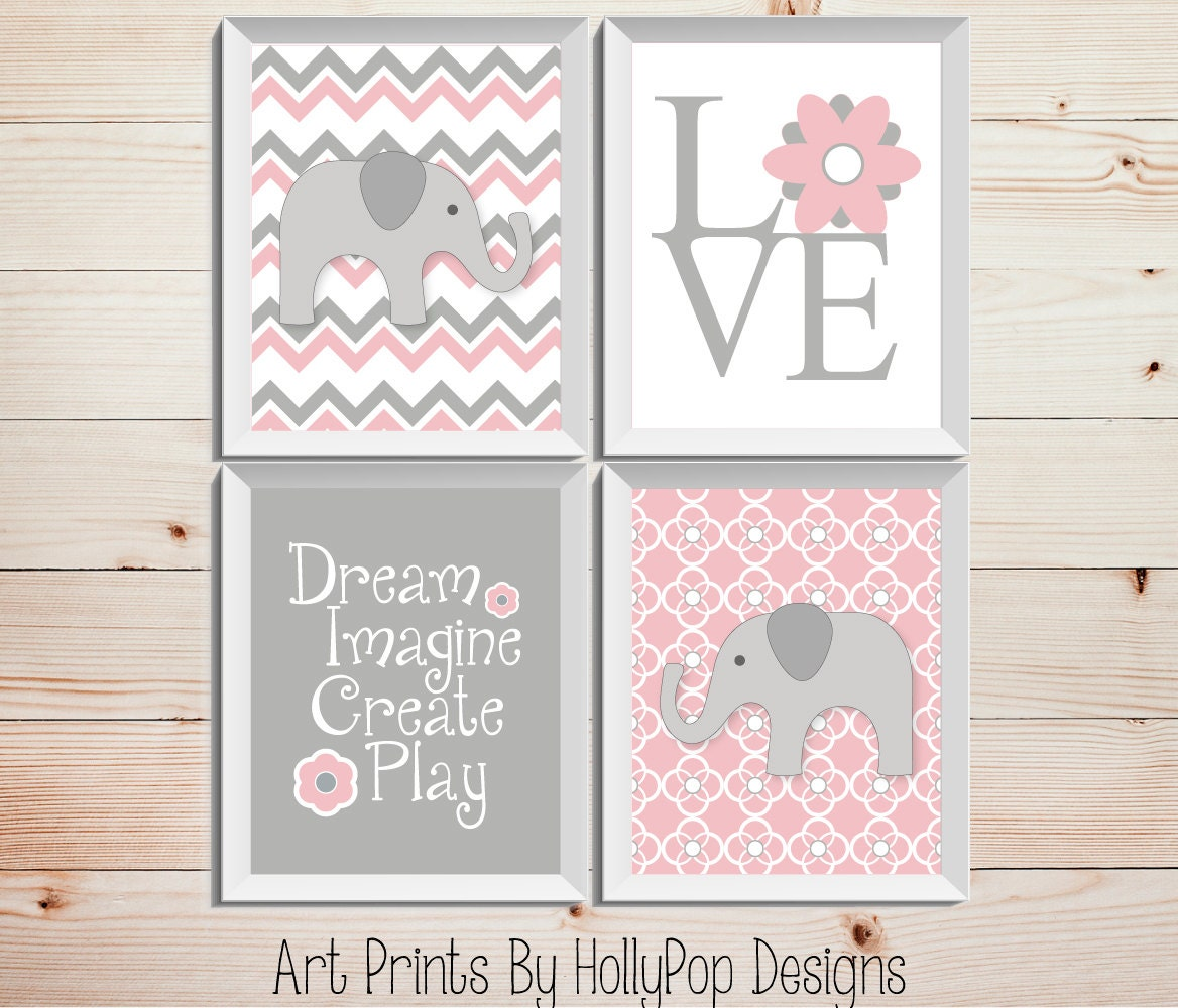 Pink Gray Nursery Decor Baby Girl Nursery Wall Decor Elephant