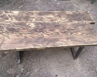 Coffee table in wood and iron vintage