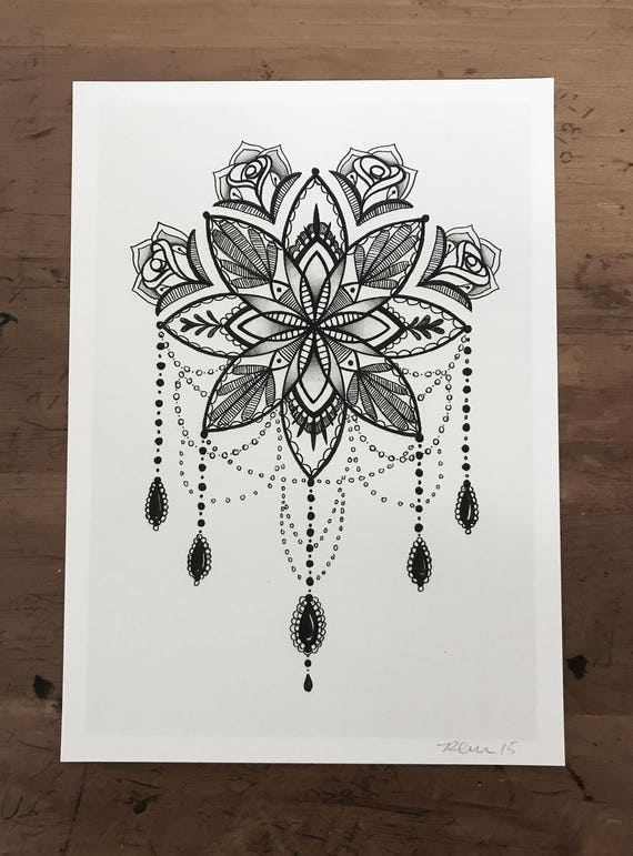 Geliefde Mandala Illustration Tattoo Art Pen en inkt tekenen 5 x &LD94