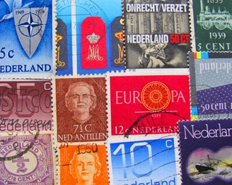 Tulips Are Better Than One 50 Vintage Dutch Postage Stamps Holland Amsterdam Rotterdam The Hague Europe EU Scrapbooking Worldwide Philately