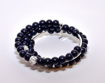 Onyx and sterling Silver Triple Wrap Bracelet