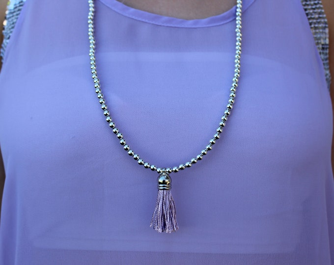 Pastel Purple Beaded Tassel Necklace