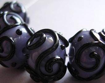 Glass Lampwork Purple Handmade Beads Ericabeads Scrolled Grape Purple (6)