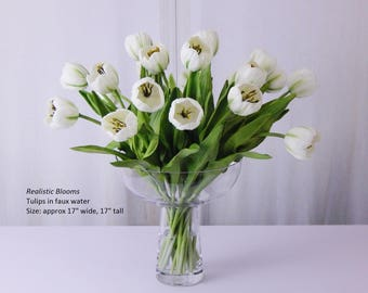Tulip/tulips, FAUX WATER, silk/artificial, LARGE, floral arrangement, acrylic/illusion, water, glass vase, Real Touch flowers, gift, white