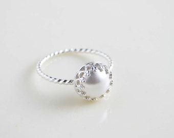 White Pearl Ring. Sterling Silver Crown Bezel with Twisted Ring. Gift for Her. June Birthday. Simple Modern Jewelry by PetitBlue