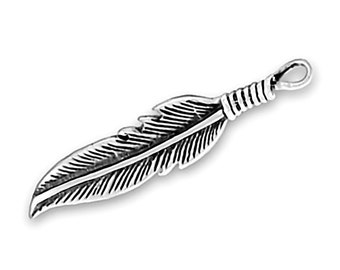 Sterling Silver Feather Charm Pendant Bird Eagle
