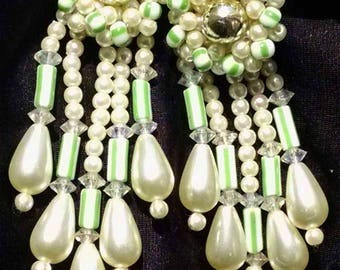 Pearls Earrings Vintage Dangles Wedding Long Shoulder Duster BurLesque Hollywood Marilyn Statement Estate VLV Mod Teardrops Bold Lime Glass