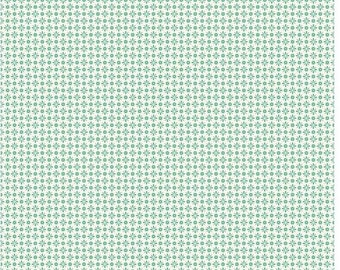 Mint Lily Flowers Riley Blake Designs - Small Floral Fabric - Mint Fabric - White Fabric Quilting Cotton - Quilt Cotton - Penny Rose Fabrics