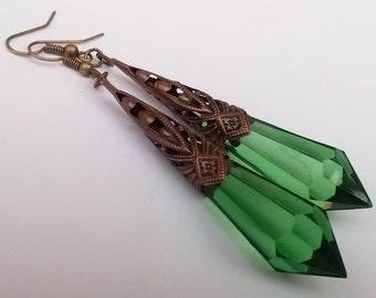 Green Earrings , Bronze Earrings , Green Teardrop Earrings , Bronze Teardrop Earrings , Art Deco Earrings , Victorian Earrings , Handmade