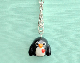 Clay Penguin, Penguin Charm, Polymer Clay Charm, Polymer Clay Penguin, Penguin Necklace