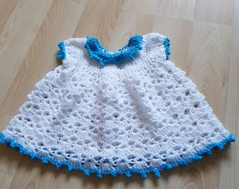 3-6 months baby dress white with blue edges