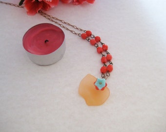 Fall colors beaded necklace