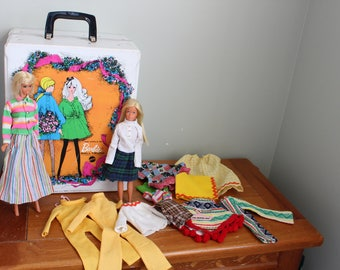 1968 Barbie Doll Trunk with 1966 Made in Japan Barbie and 1967 Made in Korea Skipper Doll with Several Outfits and Hangers