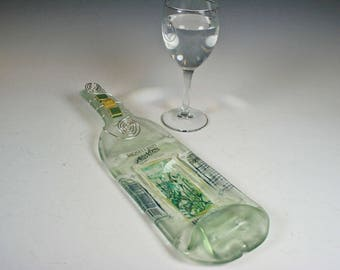Flattened, Slumped, melted wine bottle, Cheese tray, Moselland ArsVitis Riesling Melted Slumped Recycled Wine Bottle Cheese Tray