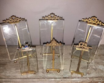 Beautiful Collection Of 6 Antique French Picture Frames With Beveled Glass And Brass Easel Frames,Gift,Decorative,Original,Collectible