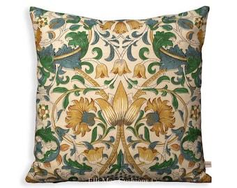 William Morris Lodden Gold Green Fabric Vintage Designer Cushion Pillow Cover