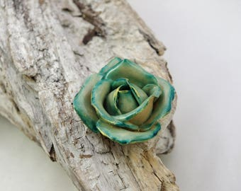 Flower: Rose turquoise sculpted cold porcelain