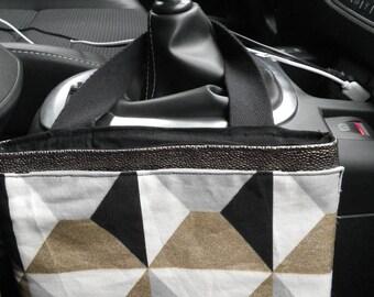 Pochette020 - Vide poche de voiture gris, noir et doré