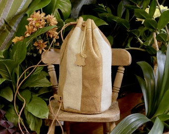 Luxury Genuine Suede Leather Ditty Bag, Yellow Mustard and Cream Stripes, Drawstring Backpack, Blush Pink Satin Lining, Red/Cream Stitch