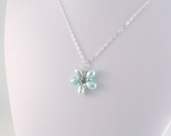 Flower Girl Necklace, Soft Aqua Blue, Wire Wrapped Floral, Sterling Silver, Child Jewelry, June Birthstone