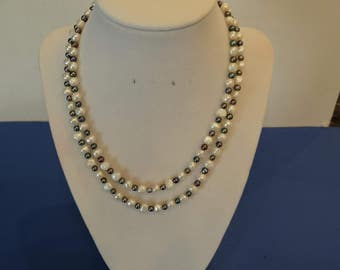 FRESHWATER SEED PEARL Necklace ,34 inches long , Genuine white pearls and Iridescent  colored beads, circa 1990s