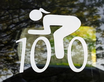 "Cycling decal - female ""century"" 100 miles - car windows, laptop"