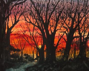 Home Before Dark, Watercolor Print, Sunset Sky, Trees, Silhouette, Orange, Red