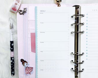 Calendar Deposits Daily Appointment planner inserts A6 ring book inlay for planner light blue