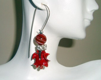 Red Earrings, Red Lampwork Bead Earrings, Long Ear Wire Earrings, Lampwork Beads, Sterling Silver Ear Wires, Red and Sparkly