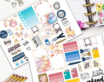 Rainbow Unicorn Theme Planner Weekly Sticker SMALL Kit, CLASSIC Happy Planner Sticker, Weekly Set, Stickers, Printed, Wings, Unicorn