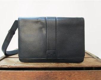KLM Vintage Chic Navy Blue Leather Like Stewardess Messenger Satchel Bag Purse