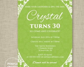Lime Green Invite 16th 18th 30th Birthday Invitation Save the Date Cocktail Dinner Invite Surprise Adult Party Invite Printable JPEG file296