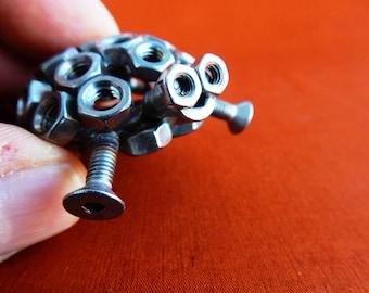 fantaisie de Noël présent tortue Don tortue sculpture en acier en acier sculpture art métal art du recyclage recyclé