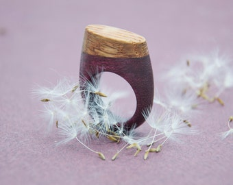 Wooden amarant and oak ring